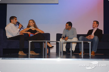 BMW Motorsport party: Barbara Schoeneberger with Ralf Schumacher, Juan Pablo Montoya and Marc Gene
