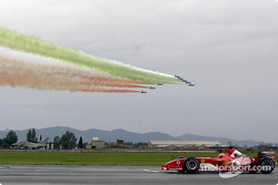 Michael Schumacher with his Ferrari F2003-GA against the Eurofighter Typhoon
