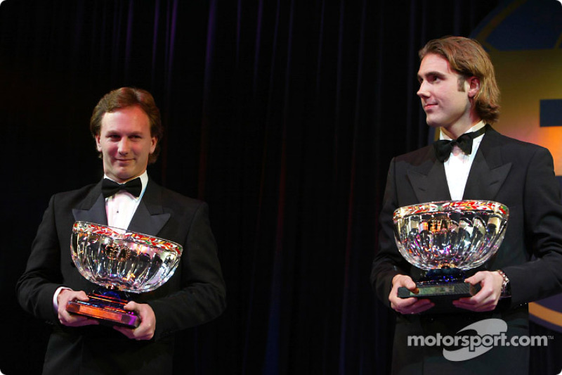 F3000 champion Bjorn Wirdheim and Christian Horner