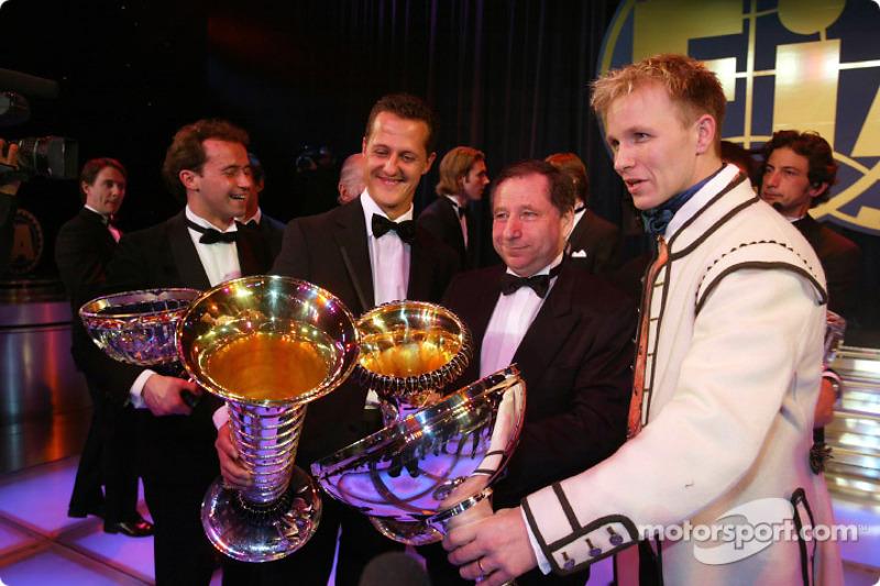 Michael Schumacher, Jean Todt and Petter Solberg