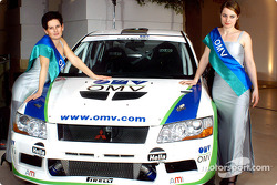 The Mitsubishi Lancer Evo VI of the OMV World Rally Team