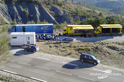 Subaru World Rally Team service area near Monte Carlo