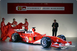 Michael Schumacher, Luca Badoer and Rubens Barrichello unveil the new Ferrari F2004