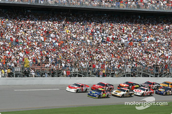 Greg Biffle and Dale Earnhardt Jr. lead the field to the start