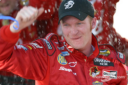 Race winner Dale Earnhardt Jr. celebrates victory
