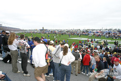 Fans on the track during pre-race ceremony