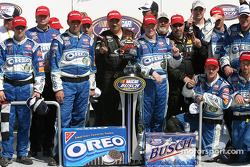 Dale Earnhardt Jr. with the Hershey's Kisses 300 winner trophy