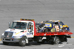 Michael Waltrip's wrecked car