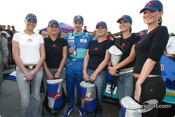 Neel Jani with the lovely Red Bull girls