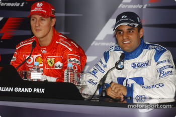 Saturday press conference: pole winner Michael Schumacher with Juan Pablo Montoya