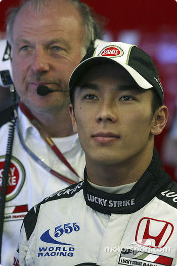 David Richards and Takuma Sato watch qualifying