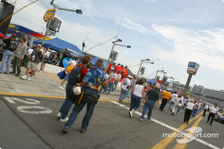 Fans on pit road before the race