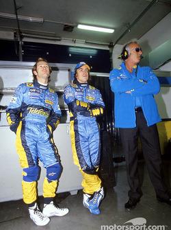 Fernando Alonso, Jarno Trulli and Flavio Briatore