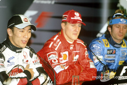 Press conference: pole winner Michael Schumacher with Takuma Sato and Jarno Trulli