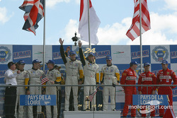 GTS podium: winners Olivier Gavin, Oliver Beretta, Jan Magnussen, with Ron Fellows, Johnny O'Connell, Max Papis, and Colin McRae, Rickard Rydell, Darren Turner