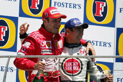 Podium: Rubens Barrichello and Takuma Sato