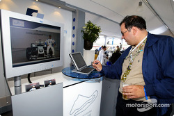 HP products display in the Williams-BMW hospitality area