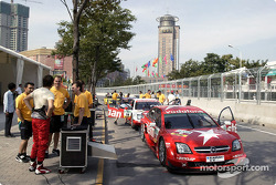 Cars pushed on pitlane