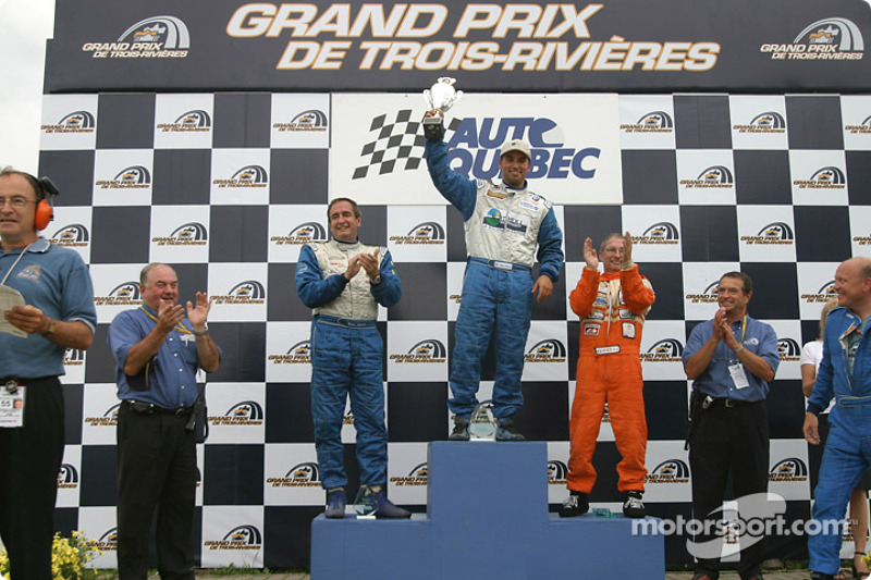 GTO podium: race winner Marc-Antoine Camirand with Normand Guindon and Réjean Vincent