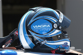 Mark Martin's helmet atop the #6 Viagra Ford