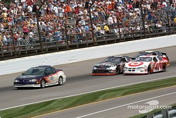 The lights are out and the pace car leads Casey and Ward to the start of the Brickyard 400
