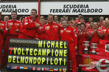 Michael Schumacher celebrates 7th World Championship