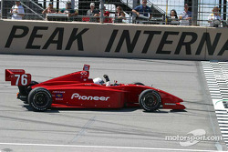 P.J. Chesson parks his winning car at the start/finish line