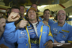 Jarno Trulli celebrates pole position