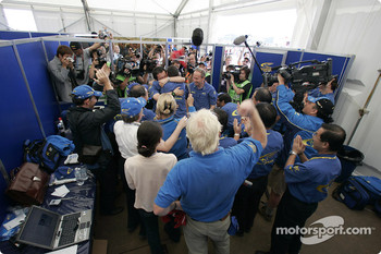 Subaru World Rally Team celebrate victory