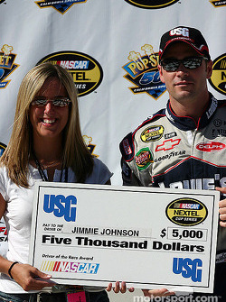 Jimmie Johnson gets a check