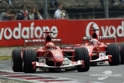 Michael Schumacher in front of Rubens Barrichello