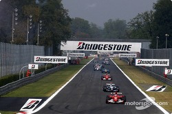 Formation lap: Rubens Barrichello leads the field