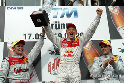 Podium: race winner and DTM 2004 champion Mattias Ekström with Tom Kristensen and Gary Paffett