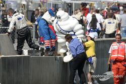 Clear the grid: the Michelin Man struggles to jump the wall