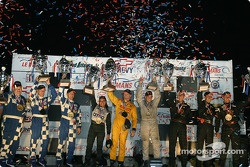 P2 podium: class winners Clint Field, Robin Liddell, Milka Duno, with Ryan Eversley, Andy Lally, Spencer Pumpelly, and Jeff Bucknum, Bryan Willman, Chris McMurry