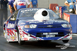 Kurt Johnson does an unusually high wheelie for a Pro Stock car