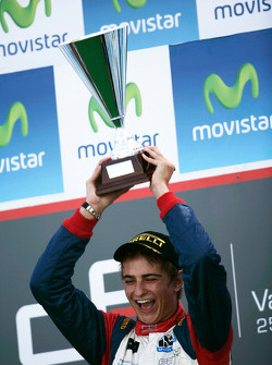 Nico Muller celebrates victory on the podium