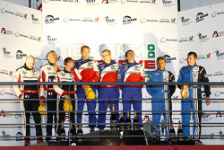 LMP2 podium: class winners Thomas Erdos, Mike Newton and Ben Collins, second place Karim Ojjeh, Tim Greaves and Thor-Christian Ebbesvik, third place Julien Schell and Frederic Da Rocha