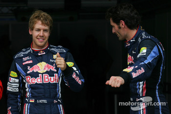 Pole winner Sebastian Vettel, Red Bull Racing, second place Mark Webber, Red Bull Racing