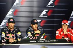 Press conference: pole winner Sebastian Vettel, Red Bull Racing, second place Mark Webber, Red Bull Racing, third place Fernando Alonso, Scuderia Ferrari