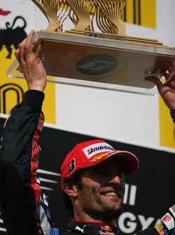 Podium: race winner Mark Webber, Red Bull Racing