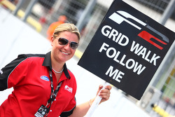 Louise Allinson Formula Two Race Team Co-ordinator prepares to lead the grid walk