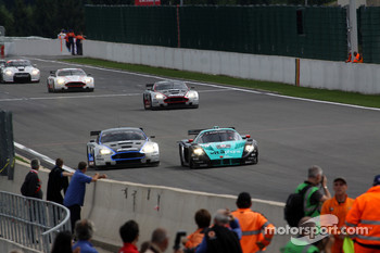 #10 Hexis AMR Aston Martin DB9: Clivio Piccione, Jonathan Hirschi, #2 Vitaphone Racing Team Maserati MC12: Miguel Ramos, Enrique Bernoldi