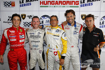 LMGT2 pole winner Alvaro Parente, LMP2 and overall pole winner Danny Watts, LMP1 pole winner Jean-Christophe Boullion, LMGT1 pole winner Gabriele Gardel, FLM pole winner Mathias Beche