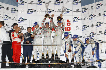 FLM podium: class winners Andrea Barlesi, Alessandro Cicognani and Gary Chalandon, second place Peter Kutemann, Maurice Basso and John Hartshorne, third place Steve Zacchia, Luca Moro and Olivier Lombard