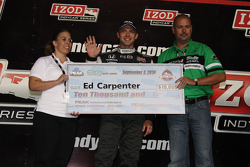Ed Carpenter, Panther Racing/Vision accepts the pole award