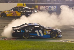 Race winner Denny Hamlin;Joe Gibbs Racing Toyota celebrates