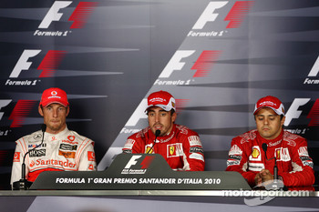 Post-race press conference: race winner Fernando Alonso, Scuderia Ferrari, second place Jenson Button, McLaren Mercedes, third place Felipe Massa, Scuderia Ferrari