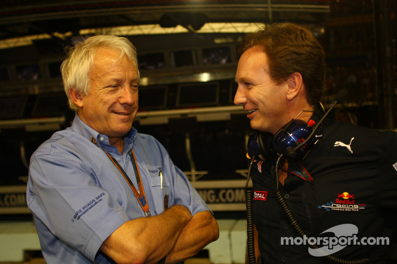 Charlie Whiting, FIA Safty delegate, Race director & offical starter and Christian Horner, Red Bull Racing, Sporting Director