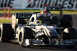 Nico Rosberg, Mercedes GP leads Michael Schumacher, Mercedes GP